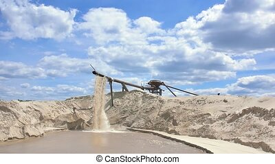 Gravel and sand quarry. Sand washing.