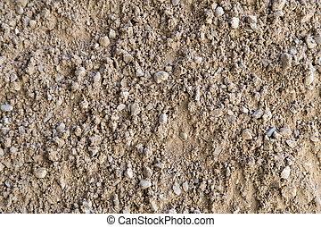 Gravel, pebbles and sand closeup