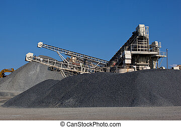 Gravel pit - Stone quarry with conveyor belts and piles of ...