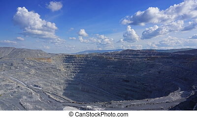gravel production in quarry, timelapse