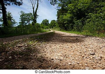 A close up of a rural gravel road.
