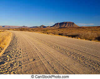 Gravel road and table mountain