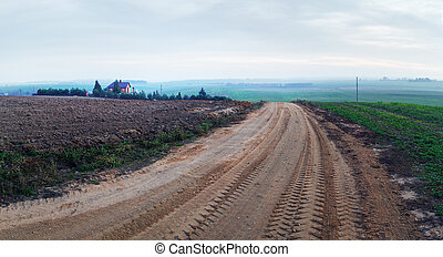 Gravel road in the countryside