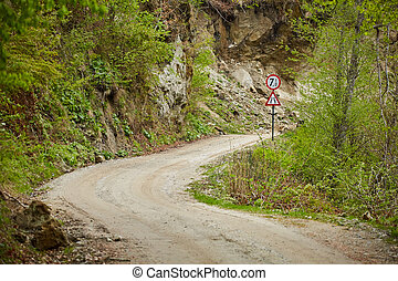 Gravel road in the mountains
