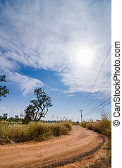 Gravel road in the rustic Thailand