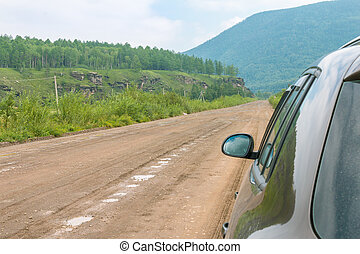 gravel road to the shore of Lake Baikal