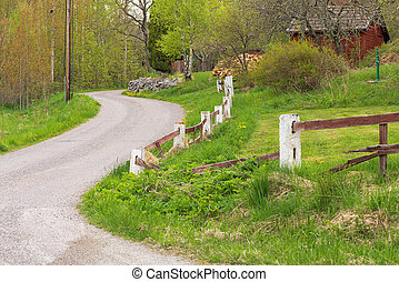 Gravelled countryroad, Sweden