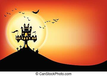 graven, night., rondgespookte, kastelen, volle maan