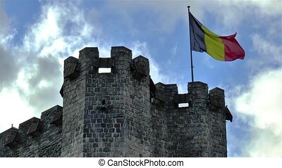Close up view of Gravensteen Castle in Ghent, Gent, Belgium.