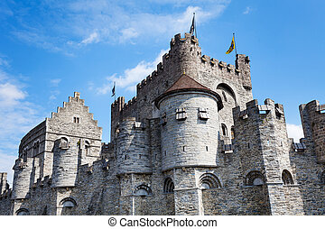 Gravensteen castle in Flemish region of Belgium - Coloseup...