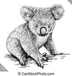 graver, vecteur, isolé, noir, blanc, koala, illustration
