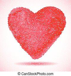 gravering, heart., illustration., rød