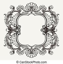 gravering, ramme, kurver, herskabelig, udsmykket, barok