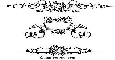 gravering, sæt, farve, æn, blomst, udsmykket, banner