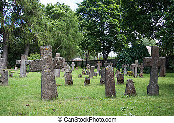 Graves at old cemetery of St. Brigitta convent in Pirita region, Tallinn, Estonia.