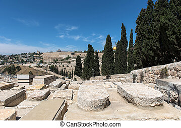 Graves in Jewish Cemetery. Jerusalem, Israel