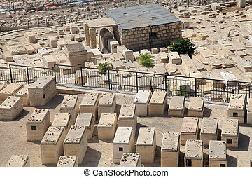 Graves in the ancient jewish cemetery in Jerusalem, Israel