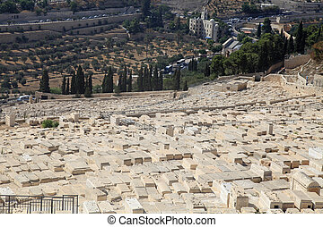 Graves in the jewish cemetery on Mount of Olives in Jerusalem