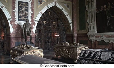 Graves of Danish kings in the mausoleum of Roskilde...