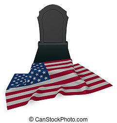 gravestone, アメリカ, -, レンダリング, 旗, 3d