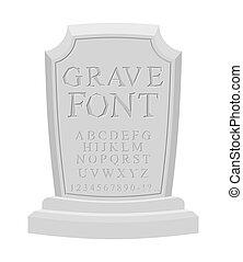 gravestone, 古代, alphabet., abc., 書きなさい, セット, 墓碑, 刻まれた, font...