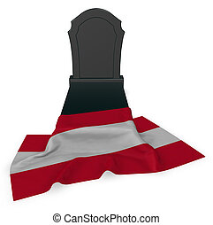 gravestone and flag of austria - 3d rendering