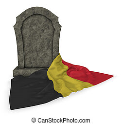 gravestone and flag of belgium - 3d rendering