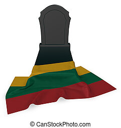 gravestone and flag of lithuania - 3d rendering