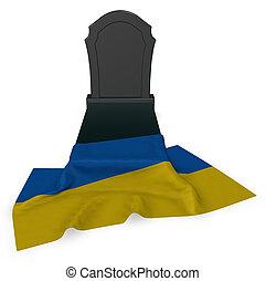 gravestone and flag of ukraine - 3d rendering