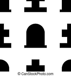 Gravestone and grave cross seamless pattern for design