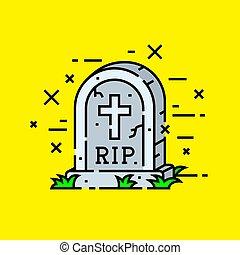Gravestone cemetery icon. RIP tombstone symbol. Graveyard...