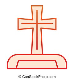 Gravestone flat icon. Cemetery box with christian cross. Halloween party vector design concept, gradient style pictogram on white background.