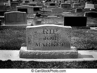 Gravestone for Job Market - Gravestone in cemetery for job...