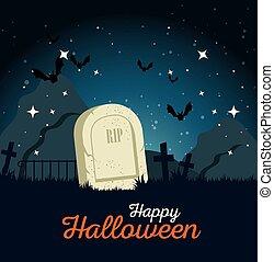gravestone halloween cartoon vector illustration graphic...