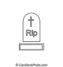 Gravestone icon, outline style