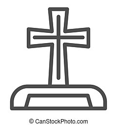 Gravestone line icon. Cemetery box with christian cross. Halloween party vector design concept, outline style pictogram on white background.