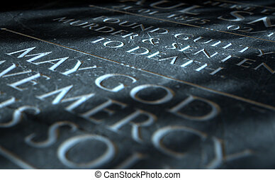A 3D render of closeup of a carved and etched tombstone of a convicted murderer
