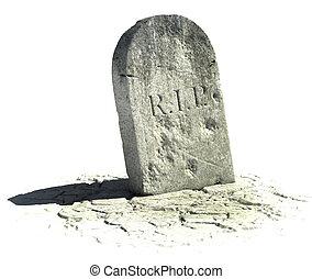gravestone on the white background 3d illustration