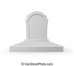 gravestone on white background - 3d illustration
