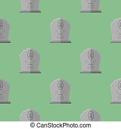 Gravestone Seamless Pattern. Grey Stone Monuments
