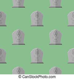 Gravestone Seamless Pattern. Grey Stone Monuments