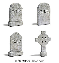 gravestone set 3d illustration
