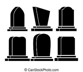 gravestone set halloween icon isolated on white background