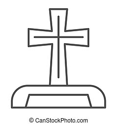 Gravestone thin line icon. Cemetery box with christian cross. Halloween party vector design concept, outline style pictogram on white background.