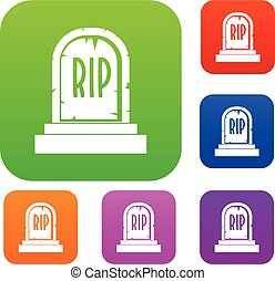 Gravestone with RIP text set color collection