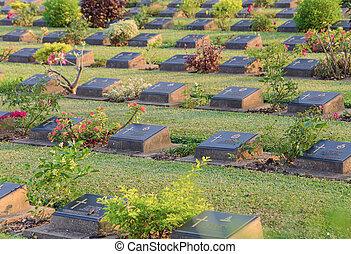 Gravestones and flowers in Cemetery