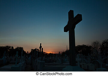 gravestones at a Christian cemetery