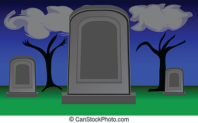 gravestones, skymning