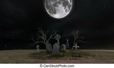 graveyard and full moon