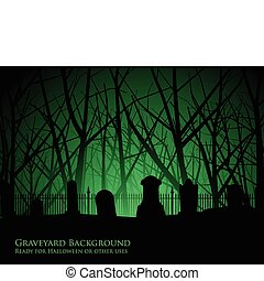Eerie background of tombstones against an ancient forest